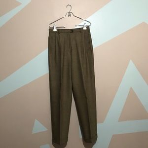 LAUREN Ralph Lauren Brown Wide Leg Pleated Pants